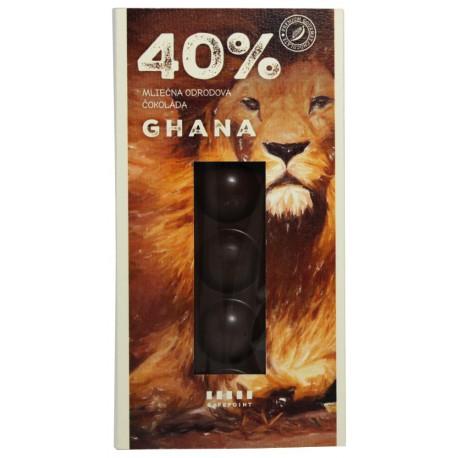 Cafepoint Mliečna Odrodová čokoláda Ghana 40%, 70g