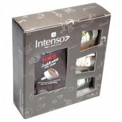 Darčekové balenie Intenso Forte 150g, mletá káva + 3x Espresso pohárik, 60ml