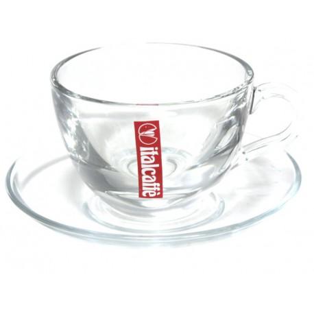 Italcaffé Cappuccino šálka s podšálkou sklenená, 140ml