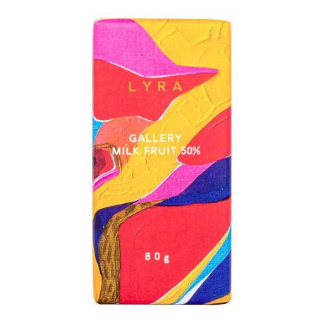 LYRA Gallery Mliečna čokoláda 50% s lieskovcami a hrozienkami, 80g