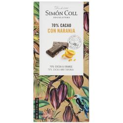 Simón Coll Horká čokoláda 70% s kúskami pomaranča, 85g