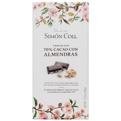 Simón Coll Horká čokoláda 70% s mandľami, 100g