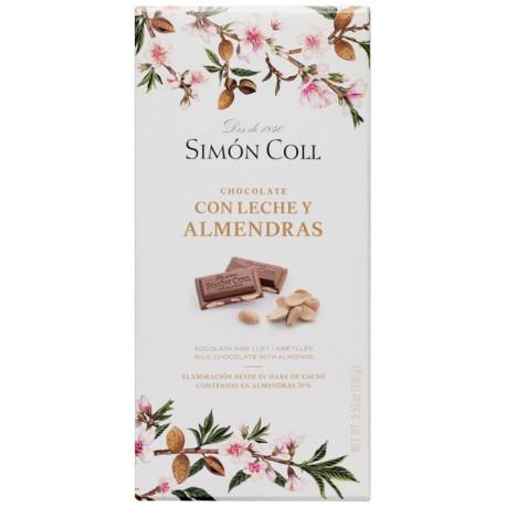 Simón Coll Mliečna čokoláda 32% s mandľami, 100g
