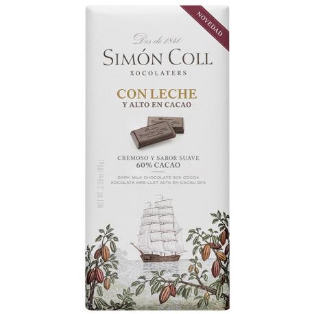 Simón Coll Mliečna čokoláda 60%, 85g