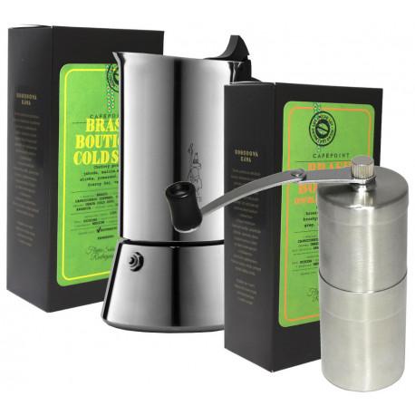 SET na prípravu espressa (moka kávovar, ručný mlynček a 2x250g zrnková káva)