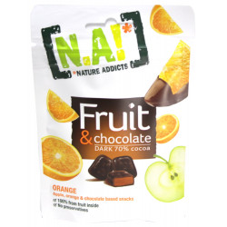 N.A! Fruit & Chocolate Pomaranč/Jablko v horkej čokoláde 70%, 35g