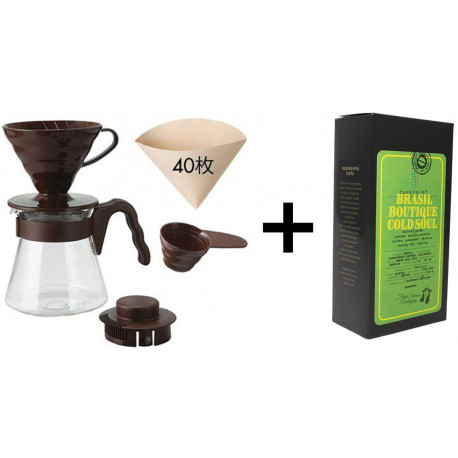 SET na prípravu filtrovanej kávy (V60 sada a zrnková káva Brasil Cold Soul, 250g)