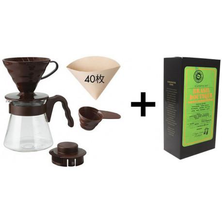 SET na prípravu filtrovanej kávy (V60 sada a zrnková káva Brasil Double Fermentation, 250g)