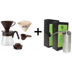 SET na prípravu filtrovanej kávy (V60 sada, ručný mlynček a 2x250g zrnková káva)