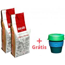 Italcaffé Dolce Crema 2x1kg, zrnková káva + KeepCup Eddy S