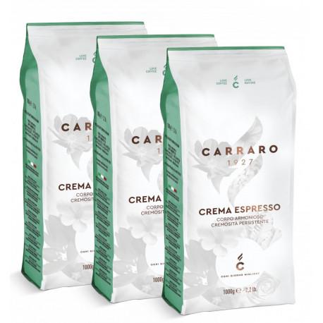 Carraro Crema Espresso 3x1kg, zrnková káva