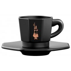 Bialetti Espresso šálka s podšálkou Black 75ml, 4ks
